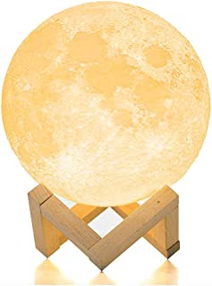 BRIGHTWORLD Moon Lamp Moon Night Light 3D Printed 3.5IN Lunar Lamp for Kids Gift for Women USB Rechargeable Touch Contral Brightness Warm and Cool White