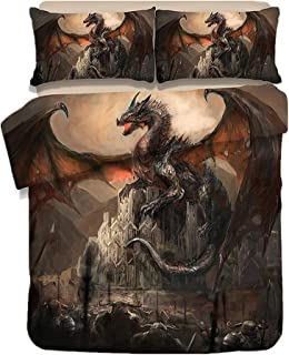 Sticker Superb Funda Nórdica, Funda de Edredón de Dragón en 3D, Dragón Dorado Púrpura Rojo Negro, Adecuada para 90/105 Camas (Dragón Negro, 180_x_210_cm)