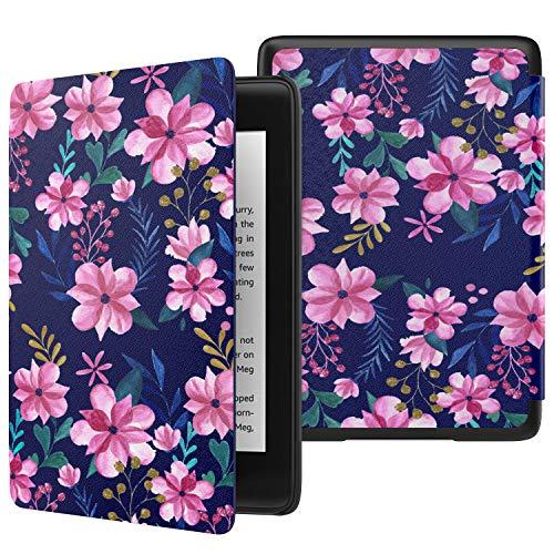 MoKo Funda para Kindle Paperwhite (10th Generation, 2018 Release), Funda de SmartShell Delgada y Ligera con Auto Sueño/Estela para Amazon Kindle Paperwhite E-Reader - Azul & Rosa Flora
