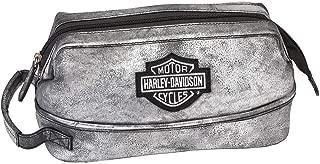 Harley-Davidson Deluxe Bar & Shield Leather Toiletry Kit, Silverado 99609-SILVER