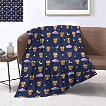 jecycleus Nursery Luxury Special Grade Blanket Cute Owls in an Starry Night and Moon Happy Sleepy and Alert Animals Multi-Purpose use for Sofas etc. W57 by L74 Inch Night Blue Brown Yellow