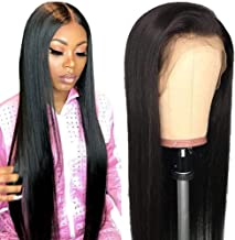 Grace Plus Hair Glueless Lace Front Human Hair Wigs 10-28 Inch Pre Plucked Hairline Bleached Knots 150% Brazilian Straight Remy Human Hair Wigs (20inches, 13x4 wig Natural color)