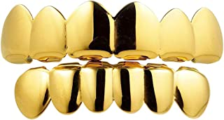 | 18k Yellow, Silver, and Rose Gold-Plated Stainless Steel 6 Teeth Grillz | Men and Women Fashion Dental Jewelry Grill | Top, Bottom, Set