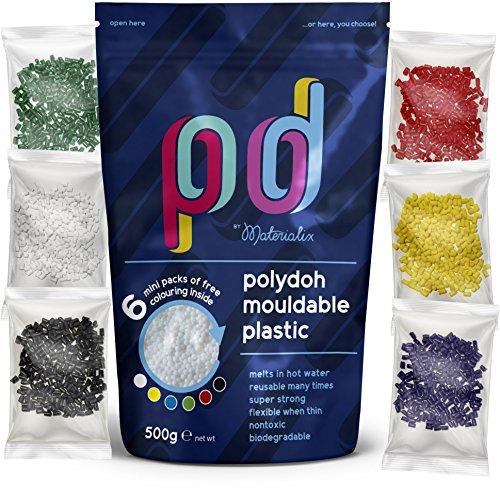 Polydoh Formbarer Kunststoff, inkl. 6 Packungen Färbegranulat (500g) [polymorph, plastimake, instamorph]
