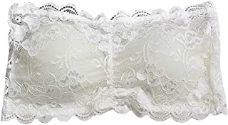 Lace Strapless Boob Bandeau Tube Tops Bra with Falsie for Women Ladies Free Size (White)