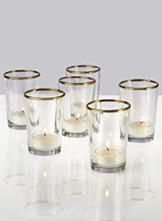Serene Spaces Living Gold Rim Glass Votive Holder, Set of 6, Measures 2.5 in D X 3.5in H