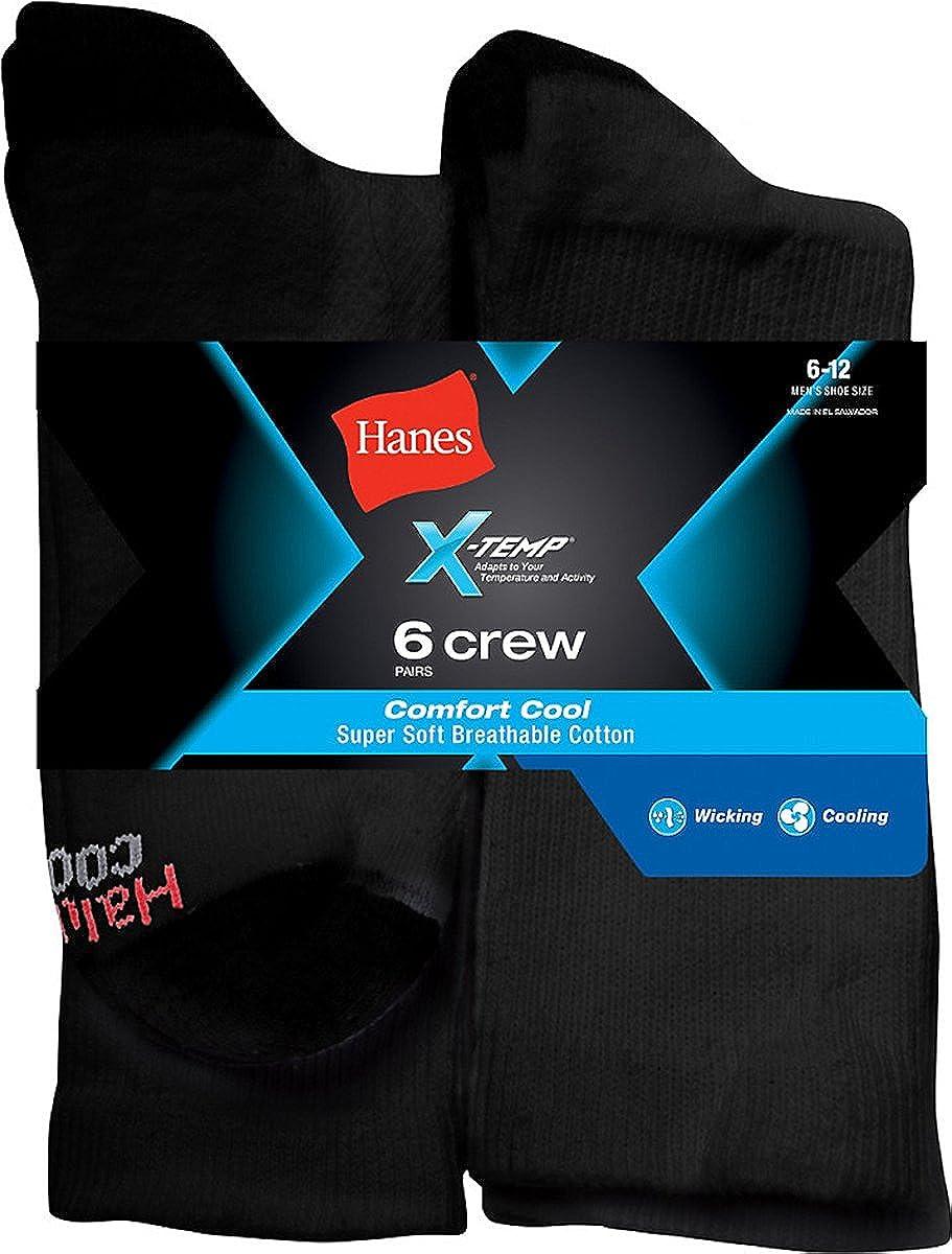 Hanes Men's X-Temp Comfort Cool Crew 6-Pack_Black_ 6-12