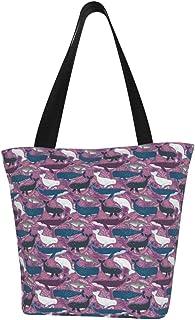 Lesif Einkaufstaschen, Wale lila Hintergrund, Segeltuch, Umhängetasche, Einkaufstasche, wiederverwendbar, faltbar, Reisetasche, groß und langlebig, robuste Einkaufstaschen