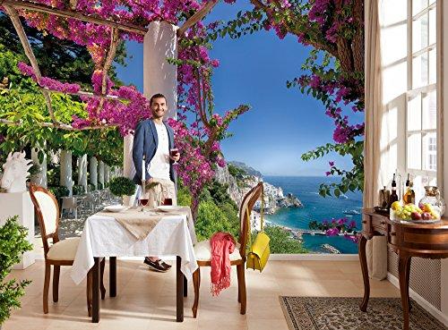 Komar Fototapete AMALFI   368 x 254 cm   Tapete, Wand, Dekoration, Wandbelag, Wandbild, Wanddeko, Amalfiküste, Italien, Meer, Urlaub, Blumen, Blüten   8-931