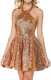 JONLYC A Line Halter Backless Short Sequin Homecoming Dresses