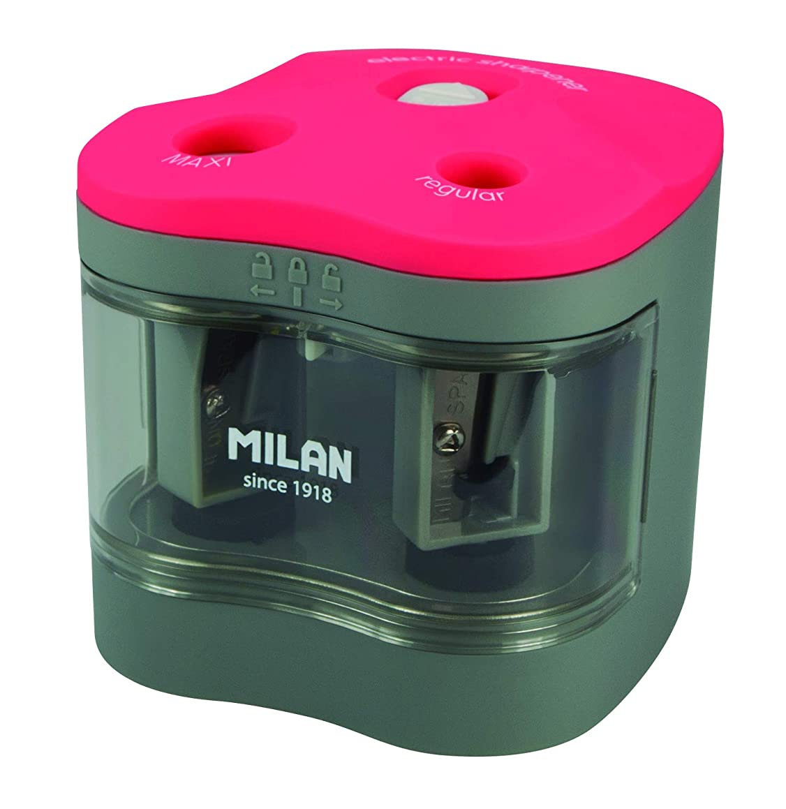 MILAN Electric Pencil Sharpener, Blister Pack, Double Use (Maxi & Regular)