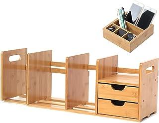 JKGHK Bibliothèque De Bureau, Bibliothèques en Bambou, Petit Rangement De Bureau Réglable, Étagères pour Organisateur De S...