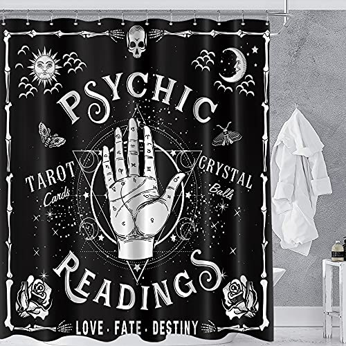 Homewelle Gothic Palmistry Shower Curtain Reading Hands 60Wx72L Inch Spooky Cool Palmistry Cute Psychic Palm Aesthetic Hippy Mysterious Tarot Whimsy 12 Pack Hooks Polyester Fabric Bathroom Bathtub