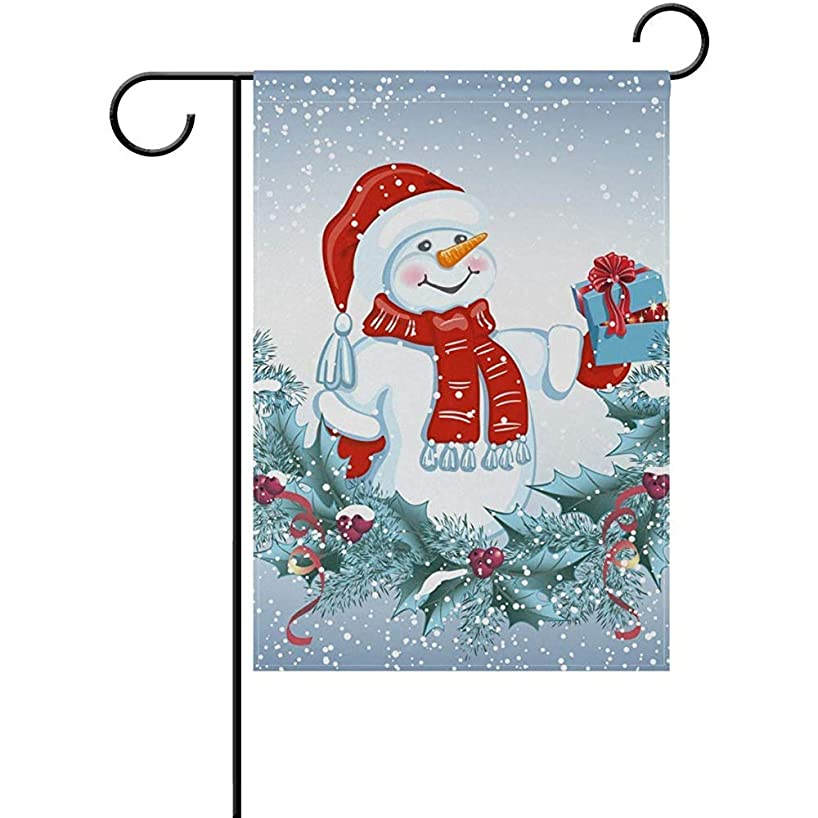 Yunnstrou Garden Flag Christmas Snowman Animal Bird House Home Flags 12 x 18 inch Double Sided Decorative Winter Holiday Welcome Yard Flag