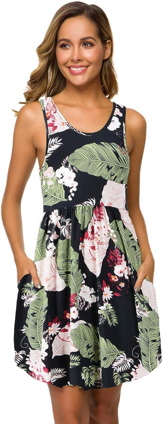 VEPKUL Women's Sleeveless Sundress Casual Swing Tank Summer Dress with Pockets