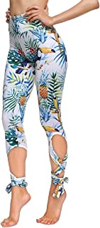 COCOLEGGINGS Womens Digital Print High Waisted Workout Capri Leggings Tights