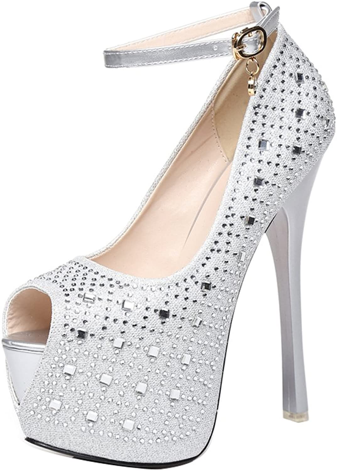 1TO9 Womens Adjustable-Strap Studded Platform Peep-Toe Silver Urethane Pumps shoes - 6.5 B(M) US