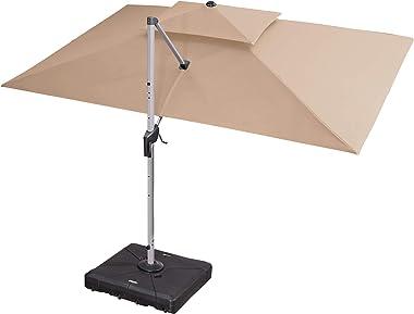 PURPLE LEAF Parasol déporté Rectangle inclinable manivelle pour Patio Jardin Balcon Piscine Plage, Protection UV 50+, 300 x 4