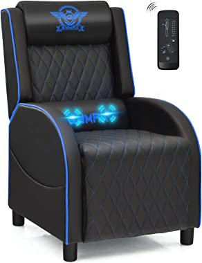POWERSTONE Gaming Chair Recliner with Footrest Breathable PU Leather Massage Recliner - Ergonomic Sofa Computer Chair with Lu