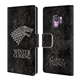 Official HBO Game of Thrones Stark Dark Distressed Sigils Leather Book Wallet Case Cover Compatible for Samsung Galaxy S9
