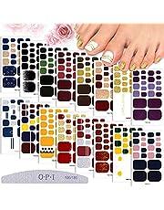 EBANKU 16 hojas Pegatinas de Uñas de Pies, Pegatinas de uñas con envoltura completa Brillantina calcomanías del dedo del pie con 1 lima de uñas, para mujeres y niñas, decoración de uñas DIY