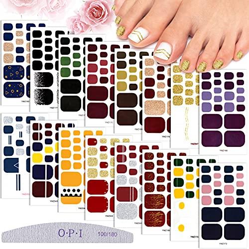 EBANKU 16 Blatt Full Wraps Nagelsticker, Selbstklebend Nagelaufkleber Glitzer Fußnagel Sticker Fußnägel Nagelfolie mit 1PCS Nagelfeile für Frauen Mädchen DIY Nail Art Dekorationen