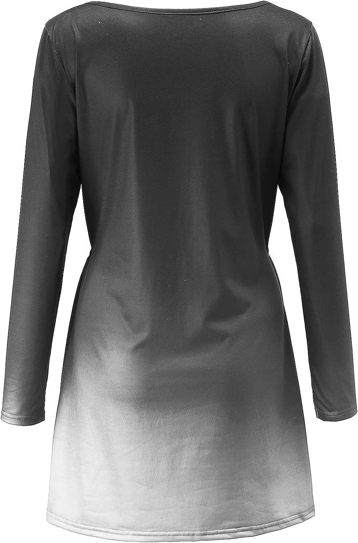 SoeHir Women Casual Gradient Dress V-Neck Loose Long Sleeve Pocket Mini Dress