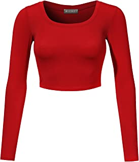 Womens Stretchy Basic Fitted Round Neck Long Sleeve Crop Top Made in USA