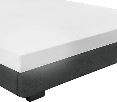 Corium Lit pour Adultes Cadre de Lit ModerneMDF Plastique Rembourré avec Similicuir Noir 200cm x 140 cm