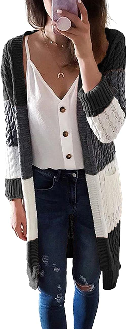 wklzaqi Womens Long Sleeve Cable Knit Open Front Color Block Striped Cardigan Sweater Coat