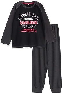 綿100% 長袖ボーイズ パジャマ Tシャツ素材 ルームウェア 春 夏 ロゴプリント