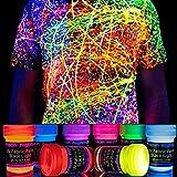 Fluoreszierende Stoffmalfarbe | 8 Schwarzlicht Textilfarben | Neon Leuchtfarbe im Set für knalligen...