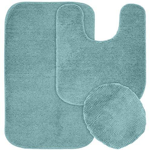 Garland Rug 3-Piece Glamor Nylon Washable Bathroom Rug Set, Seafoam by Garland Rug