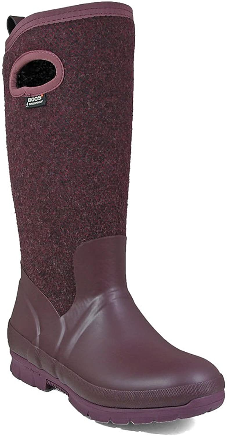Bogs Outdoor Boots Womens Crandall Wool Pull On Plush 7 M Plum 72108