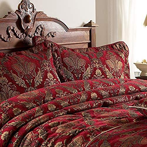 Shiraz Oxford Frontera Almohada Sham - Borgoña Rojo Y Oro - Bordado Damasco Jacquard - Borgoña Twisted Hilo Bordes - 100% Poliéster - 48 X 74 Cm (19' X 29' Pulgadas) - Hecho por Riva Paoletti