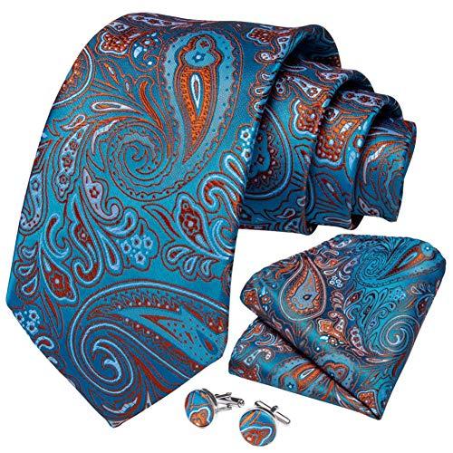 WOXHY Cravate Homme Cravate Ensemble Or Bleu Paisley Soie Mariage Boutons de Manchette Hanky Cadeau d'affaires Cravate Ensemble
