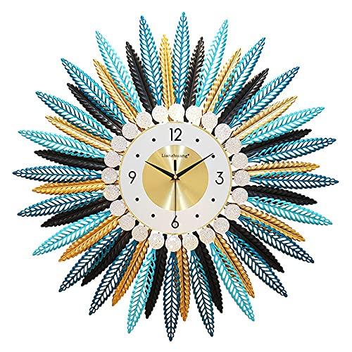 JINGZI Reloj de pared decorativo grande de plumas multicolores, rhinestone Metal de estilo bohemio silencioso Reloj moderno, adecuado para sala de estar, dormitorio, decoración de la pared de oficina.