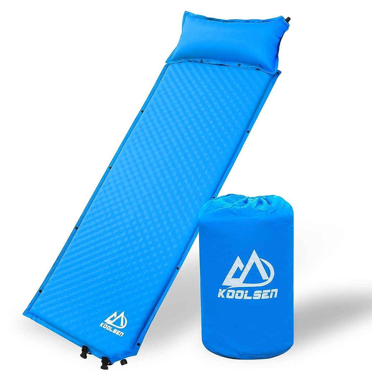 人気公加害者エアーマット キャンプマット キャンピングマット KOOLSEN エアーベッド 自動膨張 連結可能 テント泊 車中泊 耐水加工 アウトドア キャンプ 寝袋 枕が取り外し可能 家族旅行 (Blue-枕が取り外し可能)
