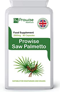 Saw Palmetto Extract 2500mg 90 Capsules – UK Manufactured to GMP Guaranteed Quality - Suitable for Vegetarians & Vegans by...