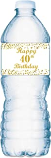 40th Birthday Water Bottle Labels; Set of 20 Waterproof Water Bottle Wrappers; Gold and White. Happy Birthday Labels