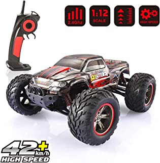 RC Car Monster Truck 1/12 Scale Off Road Electric Fast Race Cars Remote Control Truck High Speed 42km/h Radio Controlled Hobby Cars for Kids and Adults