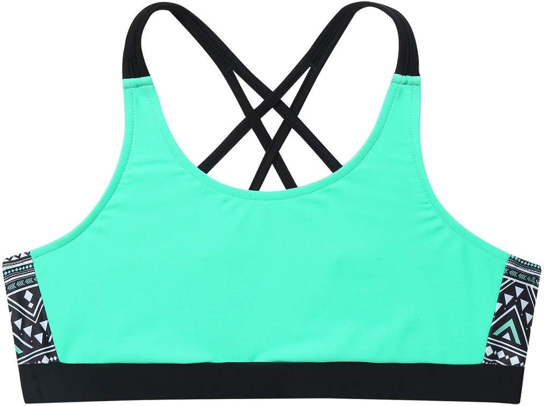 Kaerm Kids Girls Print Criss Cross Sport Training Bra Backless Straps Gym Workout Crop Top Sportwear Blue 6