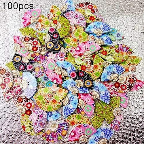 Buttons Galore, 100Pcs Cute Fan Shape 2 Hole Mixed Color Wooden Buttons Clothes Sewing Accessory - Mix Color