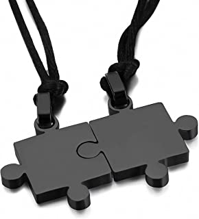 Couple Lovers Pendants Necklaces Titanium Steel Smooth Puzzle Necklaces Lover Valentine Gift