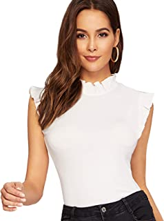 WDIRARA Women's Casual Summer Sleeveless Crop Top Sexy Rib Knit Ruffle Vest Blouse