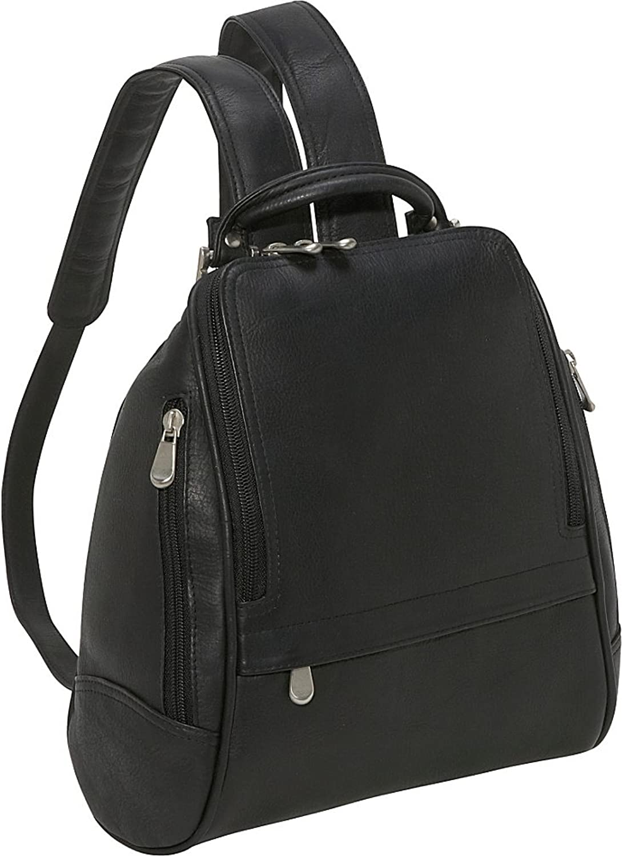Le Donne Leather U Zip Mid Size Backpack Purse (Black)