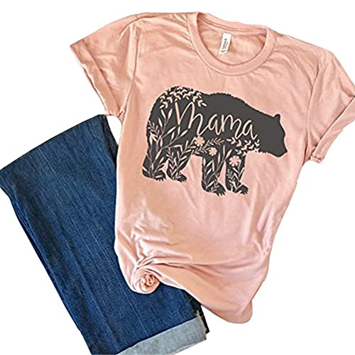 7710e4bb SuperCimi Floral Mama Bear T Shirt Print Mother's Day Gifts For Mom Short  Sleeve Cotton Shirts