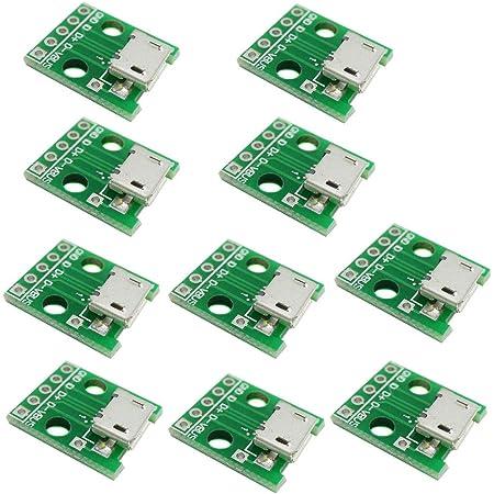 KKHMF 10個 マイクロUSB→DIP アダプタ 5pin メス・コネクタ B Type PCB コンバータ モジュールボード