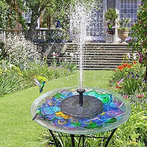 YF 2.5W Solar-Brunnen-Pumpe mit eingebauter Batterie, Solarbetriebene Wasserbrunnen Tauchpumpe Kit for Außen Vogel-Bad Pond Pool Terrasse Rasen und Garten-Dekoration