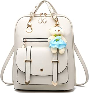 Backpack Purse for Women Large Capacity Leather Shoulder Bags Cute Mini Backpack for Girls,White